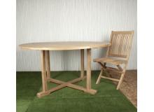 Mesa exterior redonda de teca