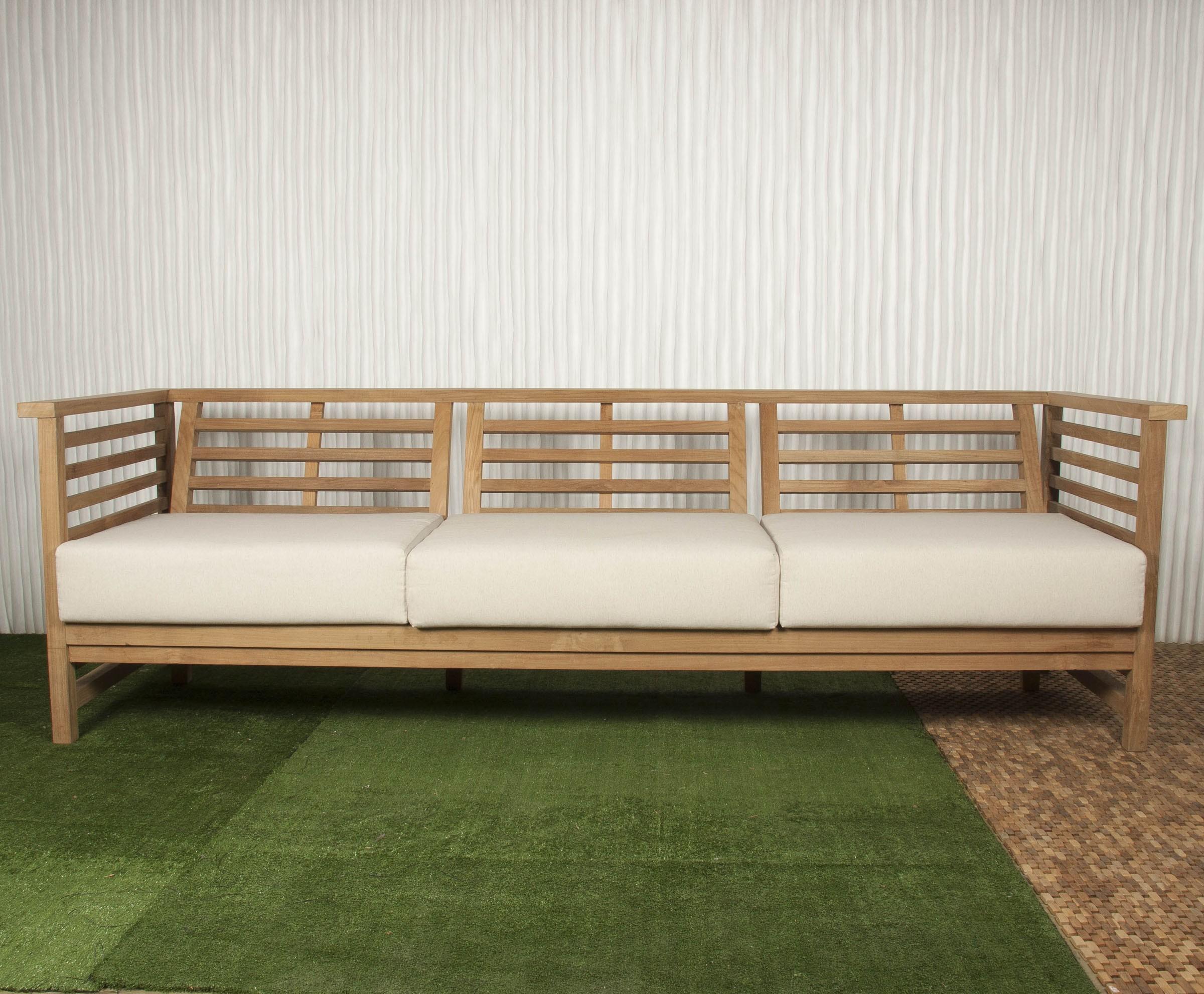 Sof exterior y sof de madera batavia - Medidas sofa 3 plazas ...
