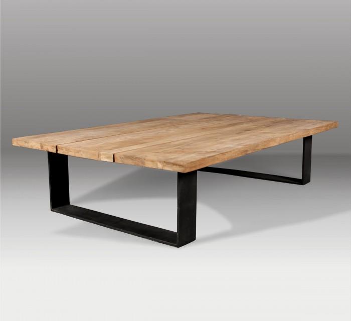 Mesa de centro y mesa de madera batavia for Mesas de salon de madera
