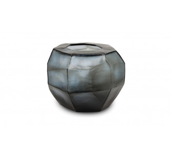 Jarrón Cubistic Round indigo/smokegrey