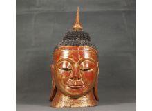 Cabeza Buda con policromia