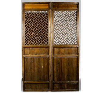 Biombo de 2 puertas de madera tallada