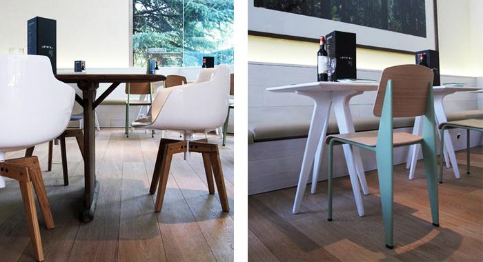 Mobiliario contract, silla Flow Armchair de MDF y silla Standard de Vitra