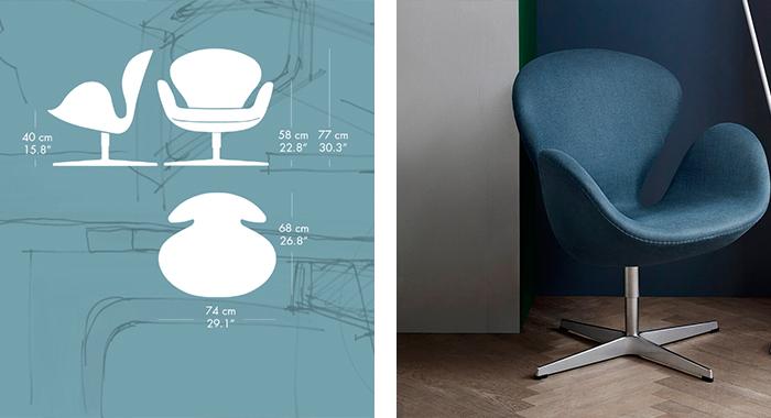 Detalle de las medidas y el tapizado de la butaca Swan de Arne Jacobsen