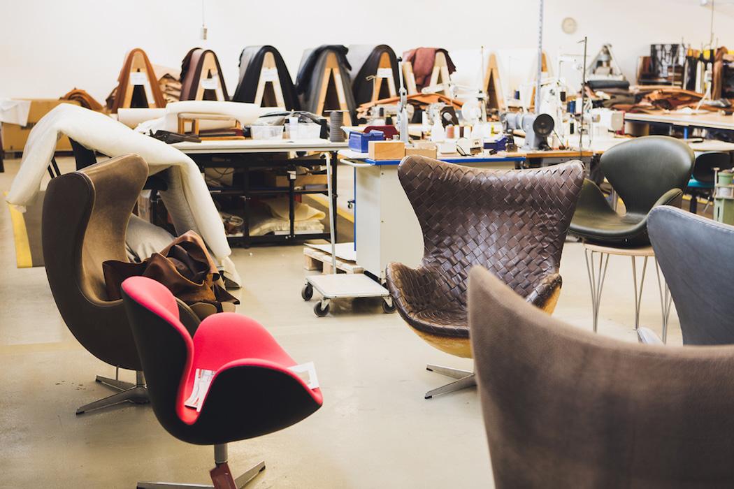 La silla Swan y Egg ambas diseñadas por Arne Jacobsen