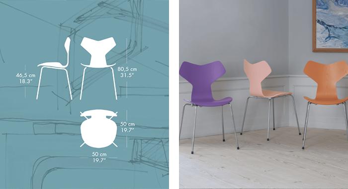 Detalle medida y acabados de la Silla Gran Prix de Arne Jacobsen