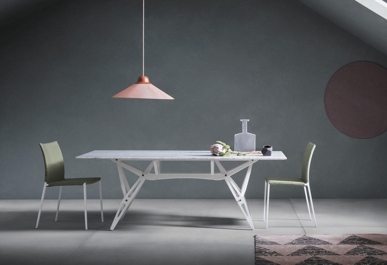 mesa reale de zanotta con sobre de marmol