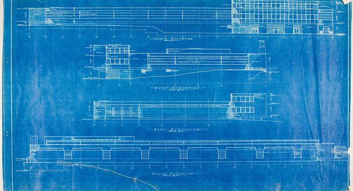 Detalle de los planos del arquitecto Walter Gropius