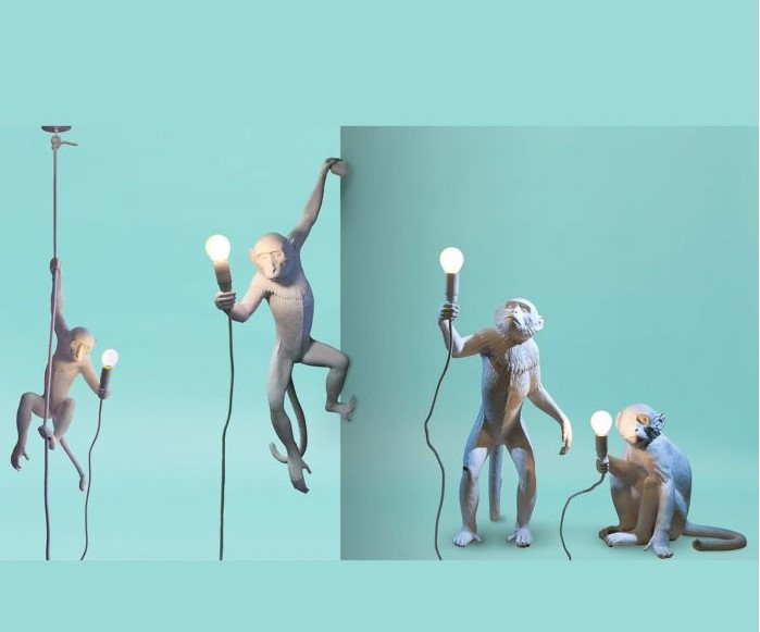 escultura de resina de monos