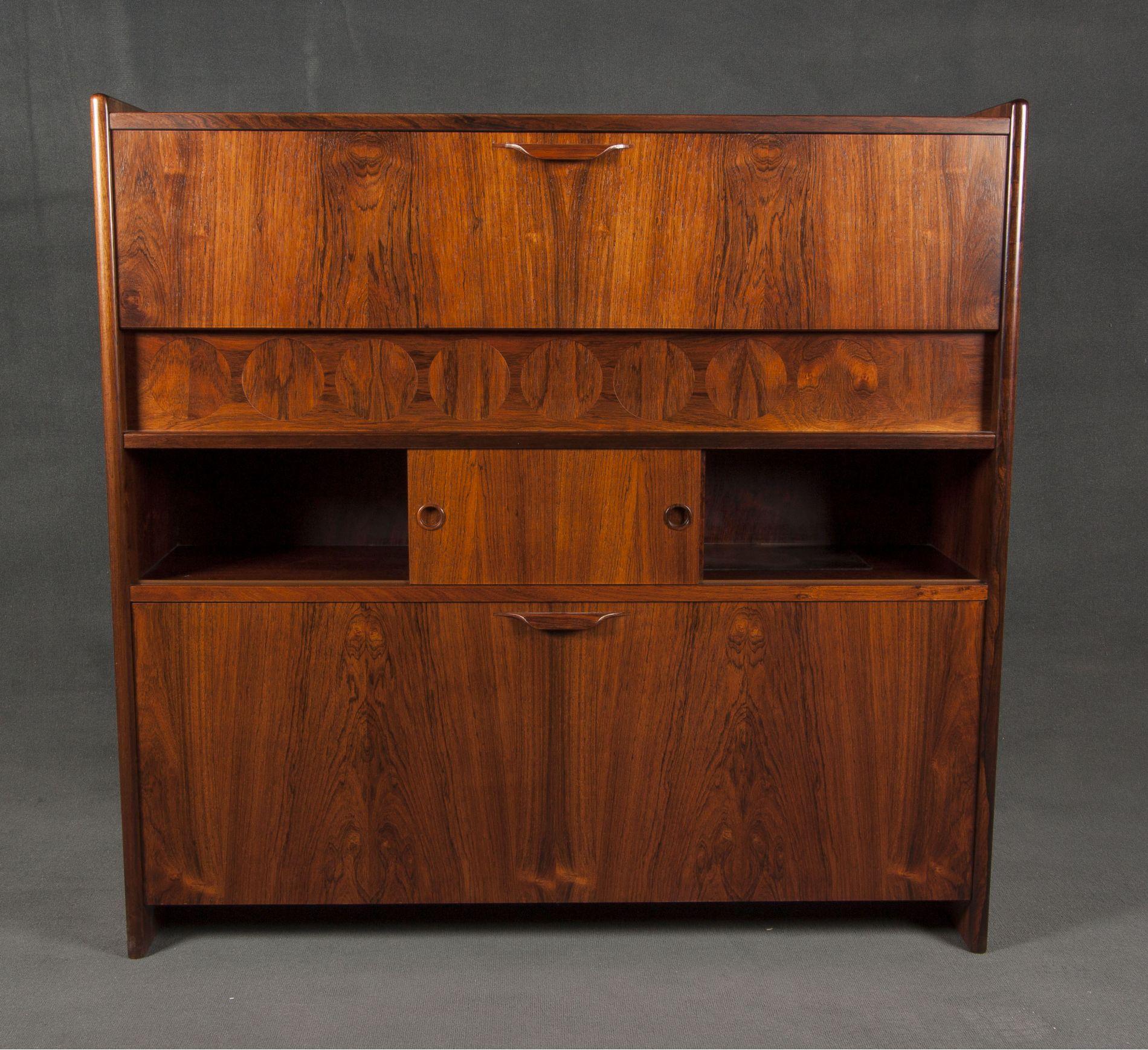 mueble bar danes en madera de palisandro original años 60