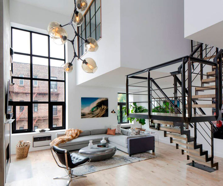 salon de un duplex decorado
