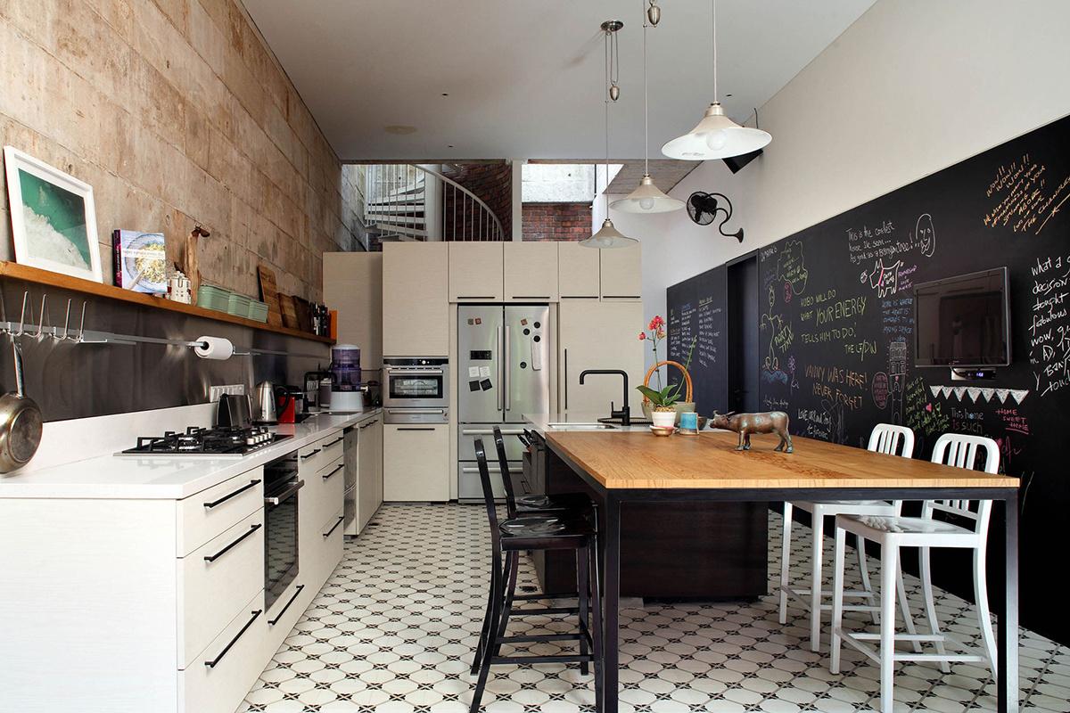 pared de pizarra en la cocina