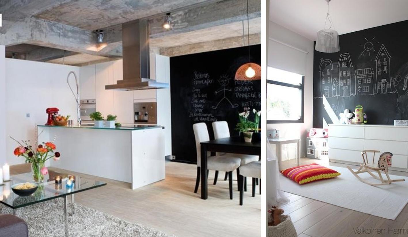 Pared de pizarra en tu decoraci n blog de muebles y - Pizarra decoracion pared ...