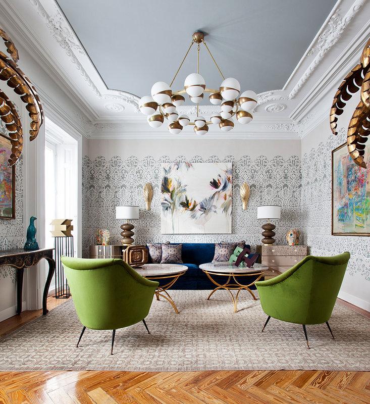 Sala de estar decorada estilo Art Decó