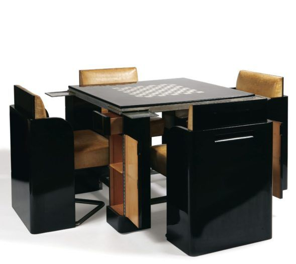 mesa y sillas lacadas art deco por jean dunand