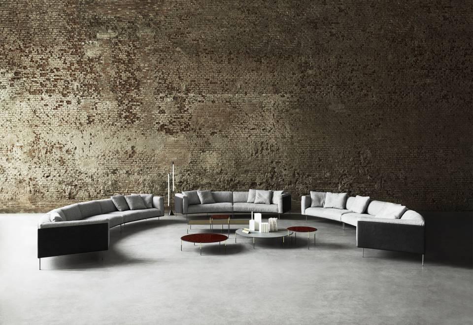 sofa curvo rod bean diseñado por piero lisoni